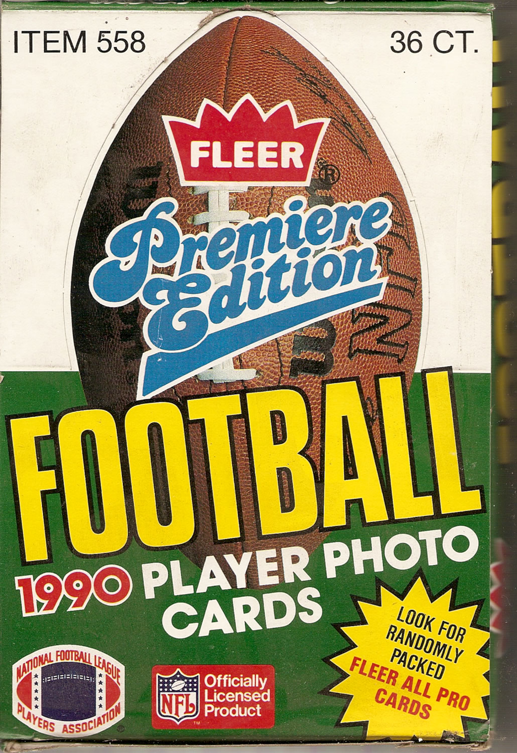 1990 FLEER PREMIERE EDITION FOOTBALL PLAYER PHOTO CARDS BOX